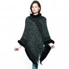 CP8616 Faux Fur Trimmed Poncho, Black