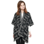 CP8617 Checkered Plaid Woven Cape Shawl, Black