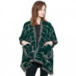 CP8617 Checkered Plaid Woven Cape Shawl, Green