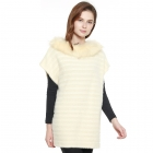 CP8618 Faux Fur Collar Soft Textured Poncho, Beige