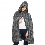 CP8620 Check Plaid Front Slit Woven Cape Shawl, Blue
