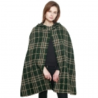 CP8620 Check Plaid Front Slit Woven Cape Shawl, Green
