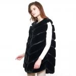 CP8627 Chevron Faux Fur Long Vest, Black