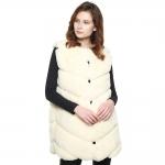 CP8627 Chevron Faux Fur Long Vest, Ivory