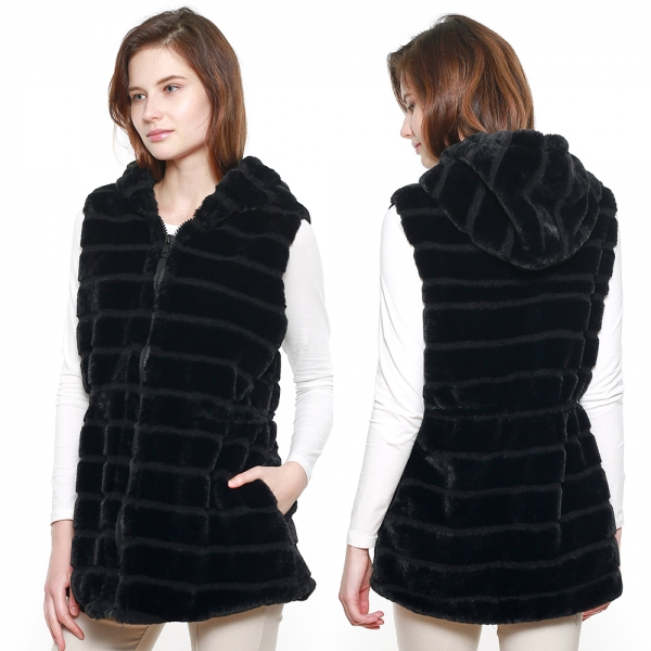 CP8628 Hooded Faux Fur Vest W/ Cinched Waist