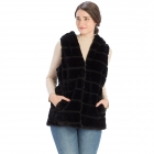 CP8628 Hooded Faux Fur Vest W/ Cinched Waist, Black