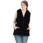 CP8628 Hooded Faux Fur Vest W/ Cinched Waist, Black