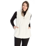 CP8628 Hooded Faux Fur Vest W/ Cinched Waist, Ivory