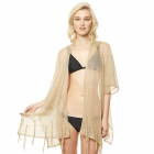 CP9503 Solid See Through Lurex Chiffon Poncho, Gold