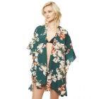 CP9505 Floral Ruffled Kimono Cover Up, Green