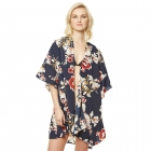 CP9505 Floral Ruffled Kimono Cover Up, Navy