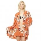 CP9505 Floral Ruffled Kimono Cover Up, Peach