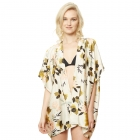 CP9509 Floral Kimono Cover Up, Yellow