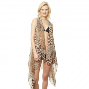 CP9511 Animal Print Vest Cover Up, Brown