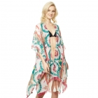 CP9512 Tropical Design Viscose Cover Up, Green