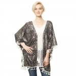 CP9514 Animal Print Silver Foil Cover Up Poncho, Black