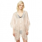 CP9514 Animal Print Silver Foil Cover Up Poncho, Pink