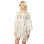 CP9514 Animal Print Silver Foil Cover Up Poncho, White