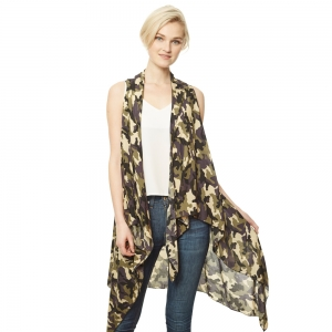 CP9519 Camouflage Long Vest Cover Up