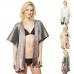 CP9521 Metallic Pleated Poncho Cover Ups Kimono, Black