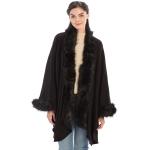CP9901 Fur Trim Shawl with Sleeves, Black