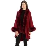 CP9901 Fur Trim Shawl with Sleeves, Burgundy