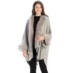 CP9901 Fur Trim Shawl with Sleeves, Light Grey