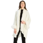 CP9901 Fur Trim Shawl with Sleeves, Ivory