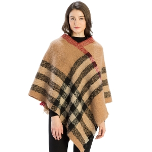 CP9904 Bold Checker Plaid Poncho