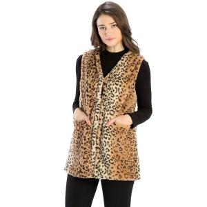 CP9908 Leopard Faux Fur vest with Pockets