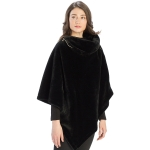 CP9909 Solid Fur With Zipper Collar Poncho, Black