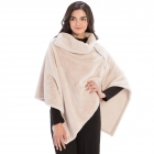 CP9909 Solid Fur With Zipper Collar Poncho, Ivory