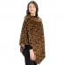 CP9911 Leopard Print Faux Fur Collar Poncho, Leopard