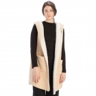 CP9913 Sherpa Lined Long Vest with Pockets, Beige