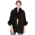 CP9915 Sherpa Faux Fur Trimmed Shawl Cape, Black
