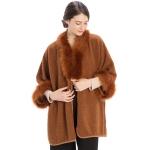 CP9915 Sherpa Faux Fur Trimmed Shawl Cape, Rust