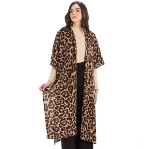 CP9919 Leopard Pattern Long Cardigan, Brown