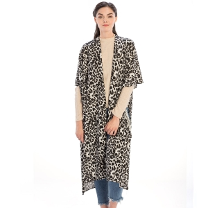 CP9919 Leopard Pattern Long Cardigan, White