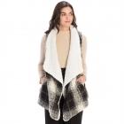 CP9920 Sherpa Fur Trimmed Plaid Vest, Black