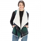 CP9920 Sherpa Fur Trimmed Plaid Vest, Green