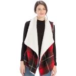 CP9920 Sherpa Fur Trimmed Plaid Vest, Red