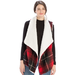 CP9920 Sherpa Fur Trimmed Plaid Vest, Red