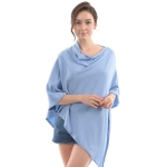 CP9921 Solid Light-weight Cashmere Poncho, Lt Blue