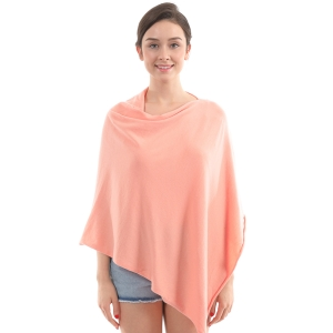 CP9921 Solid Light-weight Cashmere Poncho, Peach