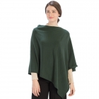 CP9921 Solid Light-weight Cashmere Blended Poncho, Green