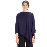 CP9921 Solid Light-weight Cashmere Poncho, Navy