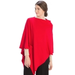 CP9921 Solid Light-weight Cashmere Blended Poncho, Red
