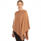 CP9921 Solid Light-weight Cashmere Poncho, Taupe