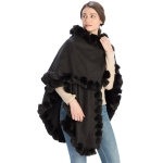 CP9922 Solid Twisted Fur Trimmed Cape Shawl, Black
