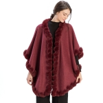 CP9922 Solid Twisted Fur Trimmed Cape Shawl, Burgundy
